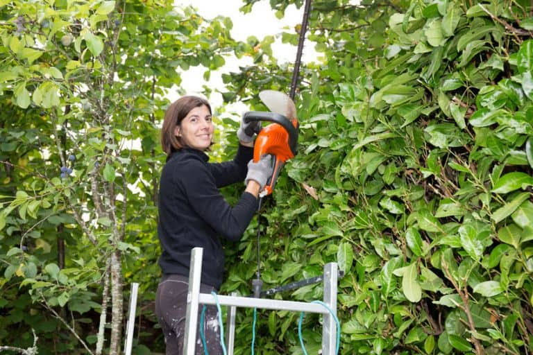 Una mujer trabajando con un cortasetos electrico