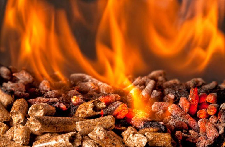 pellets en fuego