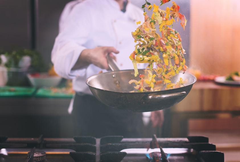 preparando wok