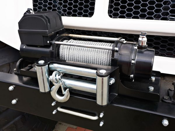 Steel wire rope winch on car
