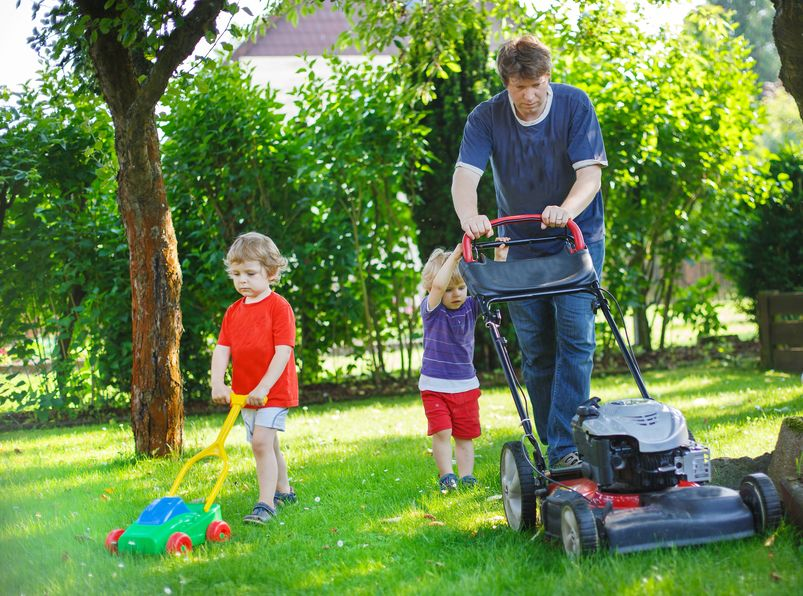 man and two little sibling boys having fun with lawn mower in garden