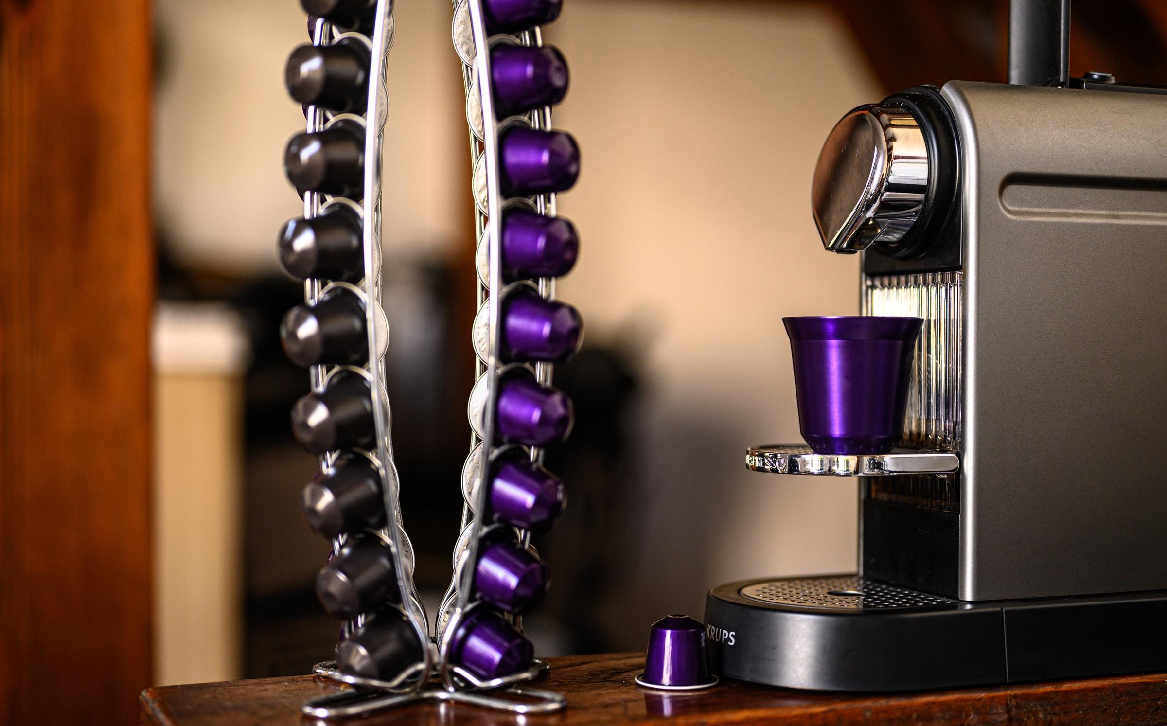 tira de capsulas de café