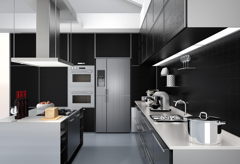 Frigorifico plateado en cocina moderna
