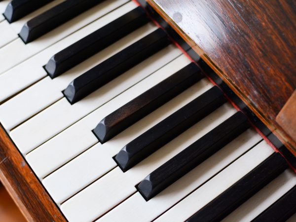 Piano keyboard of a classic wooden piano