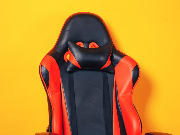 Comfortable black and red eco-leather computer chair.