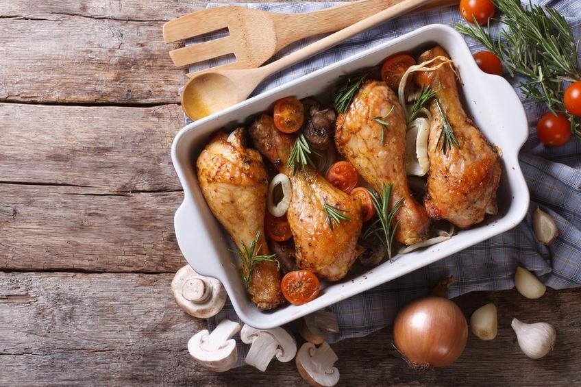 pollo al horno en bandeja