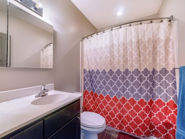 Home bathroom with toilet vanity area and bathtub conceled by colorful curtain. Wall cabinet with mirror doors is over the oval sink and cabinet.