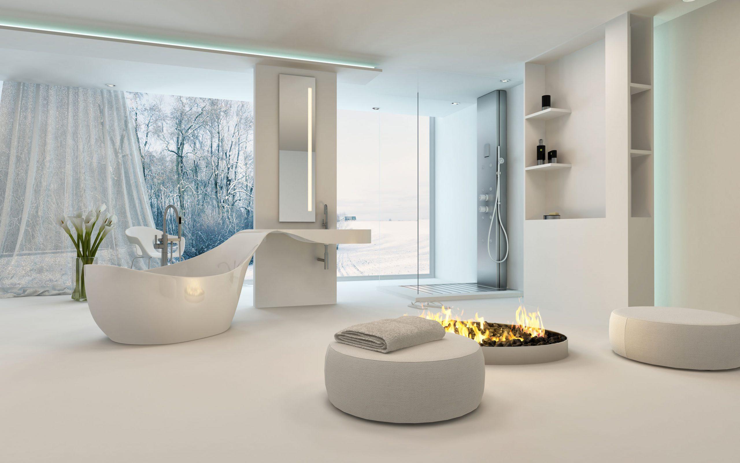 Diseño moderno cuarto de baño con bañera inter forma original, ducha, una cálida chimenea acogedora con taburetes colocados alrededor de la ventana