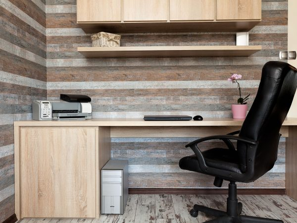 21822080 – urban apartment – modern office with a wooden desk