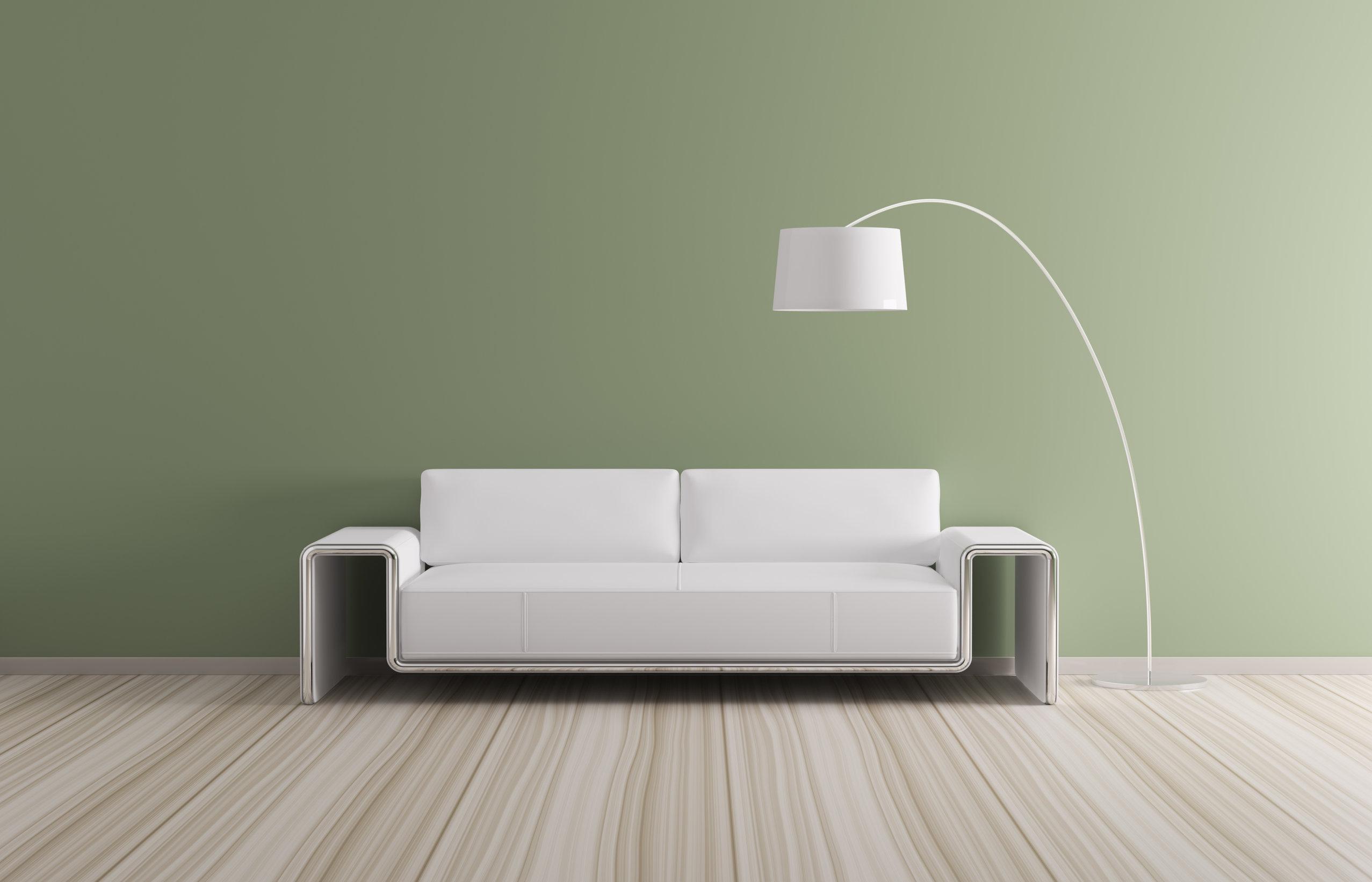 Lampara de pie en sala de estar