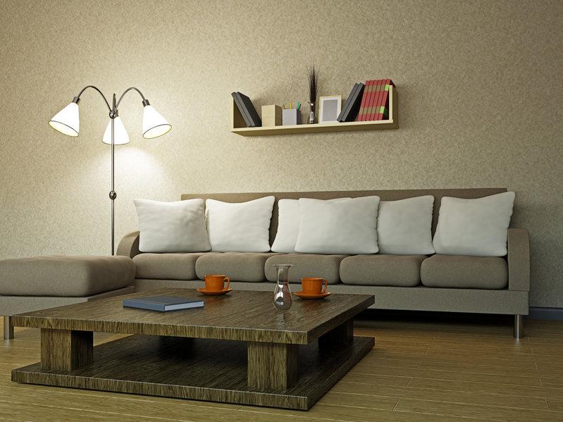 Lampara de pie regulable en sala de estar
