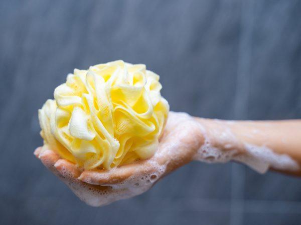 yellow body scrub sponge for shower,sponge