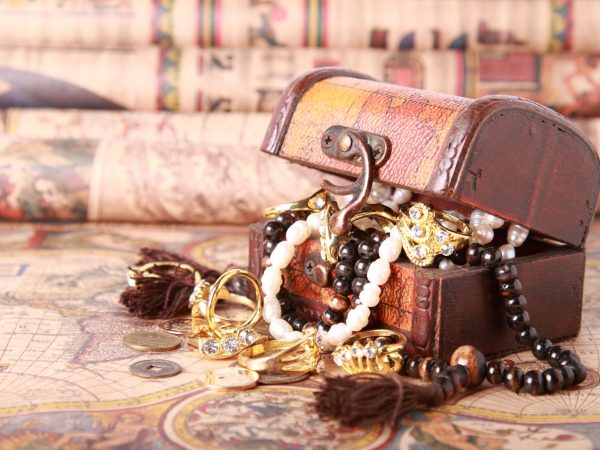 Antique chest with jewelry on vintage map
