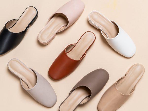 Beautiful woman fashion leather shoes