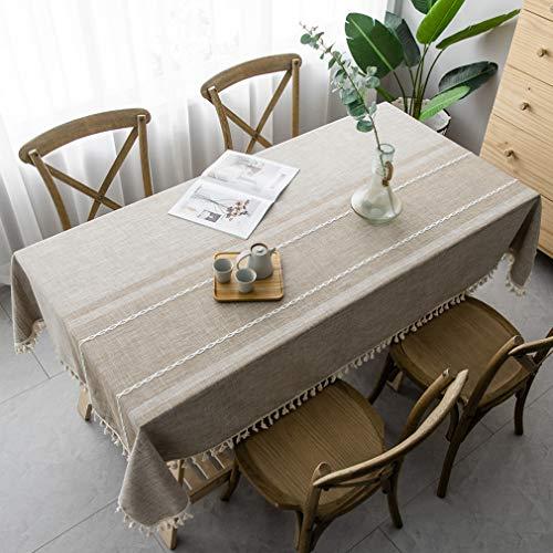 Pahajim Mantel Impermeable Borlas Pequeño Estilo Fresco Manteles Antimanchas Adecuado para Cocinas Exteriores O Interiores Mantel Mesa Rectangular(Cuadrado,140x140cm)