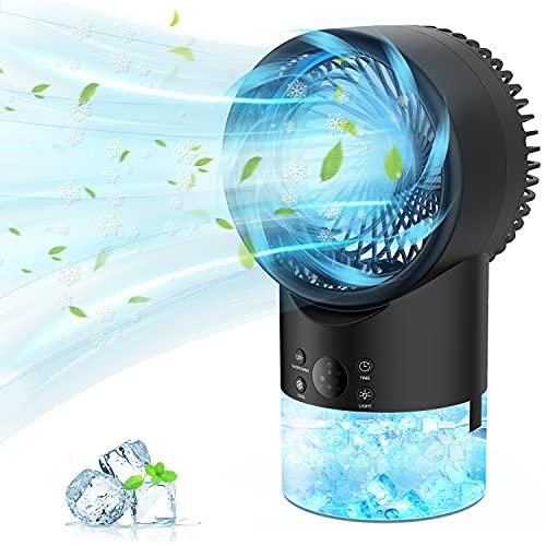 PATISZON Enfriador de Aire, Aire Acondicionado Portatil Climatizador Air Cooler Portatil Ventilador Humidificador Aire Frio 3 Velocidades 7 Colores Luces LED 2H/4H Temporizador