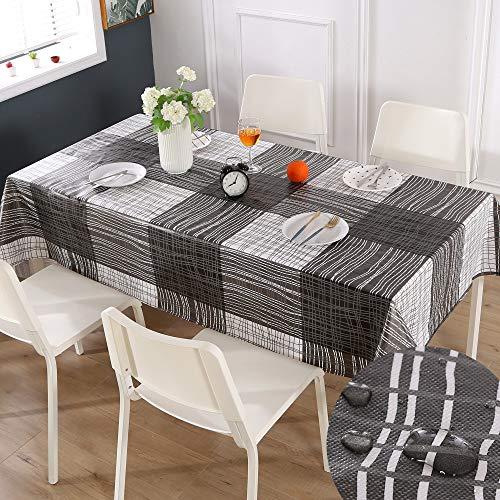 Qucover Mantel Mesa Resinado Antimanchas Impermeable Nórdico Moderno de Plástico PVC de Hule Rectangular Blanco para Cocina Comedor,140 x 240cm