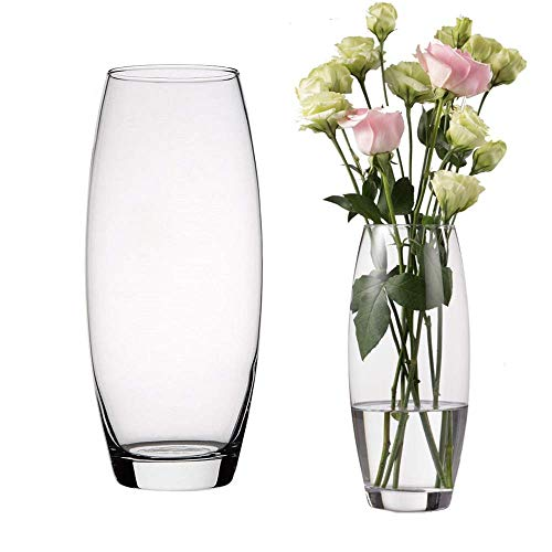 UNISHOP Jarrón de Flores de Cristal, Florero abombado de Vidrio, 26 cm de Alto, Elegante y Sofisticado